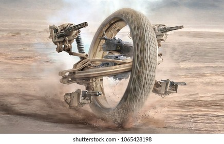 digital generated mix media concept design of sci fi futuristic vehicle weapon  mech with wheel shot guns