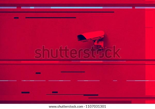 Digital Glitch Effect On Cctv Surveillance Stock Photo (Edit Now