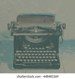 Digital Graphic Art vintage typewriter on old tool bench