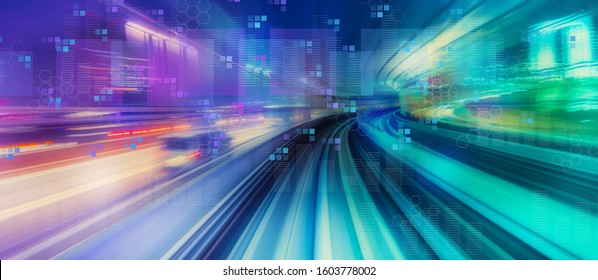 Digital graphs and hexagon grids with abstract high speed technology POV motion blur