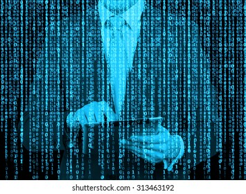 Computer hacker cyber attack concept background 555199417 digital hologram in a matrix style a man with tablet is browsing data in the voltagebd Gallery