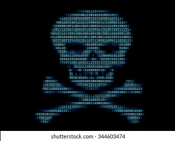 Digital human skull. Concept of network security, ransomware, cyber attack, computer virus