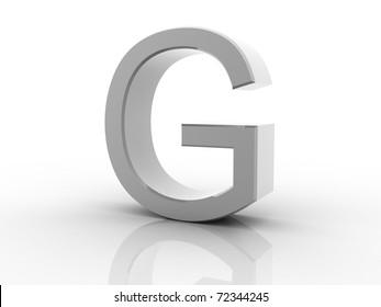 Digital illustration of 3d letter on white background