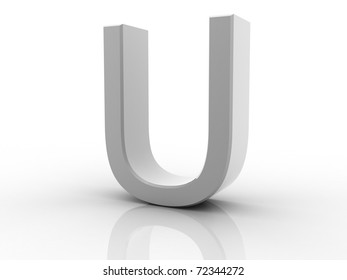 Digital illustration of 3d letter on white background
