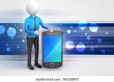 Digital illustration of 3d man showing the tablet computer