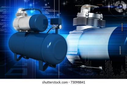 Digital illustration of air compressor in colour background