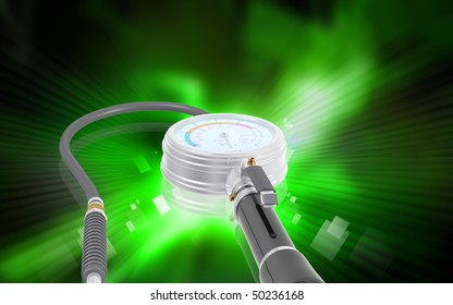 Digital illustration of Air tyre inflator in colour background