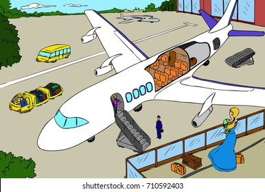 Digital illustration of airport and cross-section of plane.