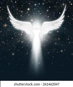 Digital illustration of an angel in the night sky full of stars.