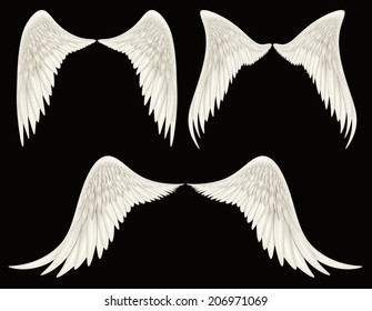 Digital illustration of angel wings. A Clipping Path is included. They are ready to be composited with other images.