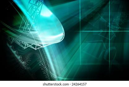 Digital illustration of an antenna sending signals