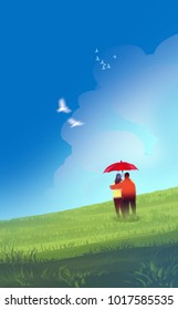 Digital illustration art painting style a couple lover under red umbrella in green field or meadow, white birds in bluesky and puffy clouds. love, valentine's day concept.