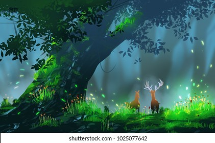 Digital illustration art painting style couple deers standing agains beautiful forest, big tree and meadow with chaos wind. fairytale, magical scenic background.