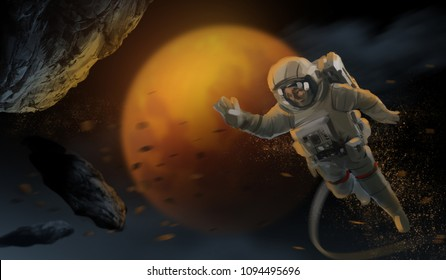 Digital illustration art painting style a astronaut in space suit and a swarm of asteroids with the mars.