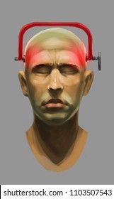 Digital illustration art painting surreal style a human head and a clamp tighten, Headaches, brain disease concept with working paths included.