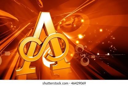 Digital illustration of atheist  symbol in colour background