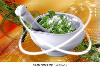 Digital illustration of ayurvedic medicine  in making