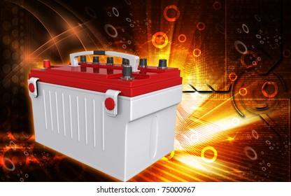 Digital illustration of a battery range in colour background