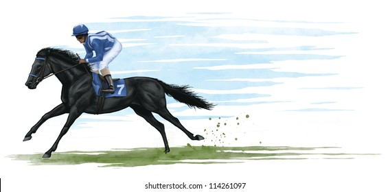 digital illustration of a black race horse.