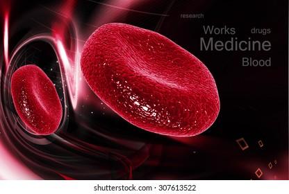 Digital illustration of  blood cell  in color  background