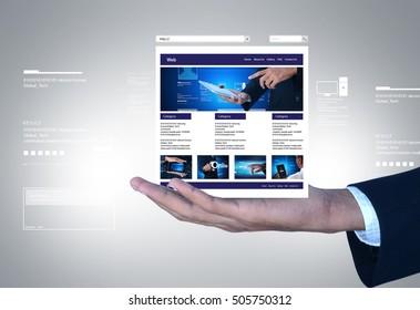 digital illustration of business man showing web page