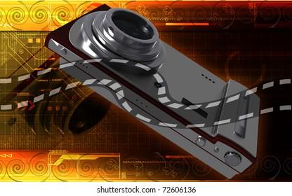 Digital illustration of camera in colour background