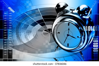 Digital illustration of  capsule with alarm clock   in  colour  background