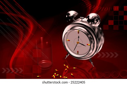 Digital illustration of a capsule opened with alarm clock