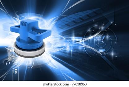 Digital illustration of Car polisher in colour background