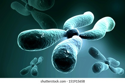 Digital illustration  of chromosome in   colour background