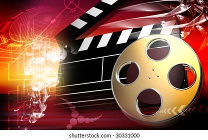 Digital illustration of Clapboard and film reel