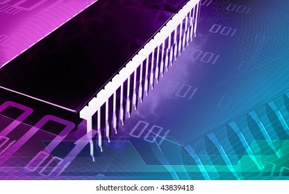 Digital illustration of  a computer chip in colour background