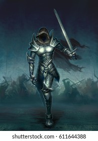 digital illustration of dark knight wearing metal medieval armor holding sword without face in battle ground