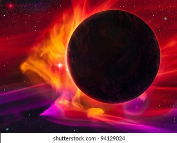 digital illustration of a dark planet engulfed by a magnetic storm or solar wind
