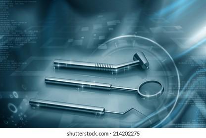 Digital illustration of  Dental equipment in colour background