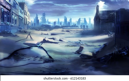 digital illustration of destroyed abandoned city street landscape view environment