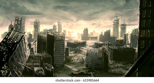 digital illustration of destroyed abandoned city street view environment landscape