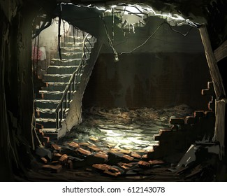 digital illustration of destroyed abandoned room downstairs interior
