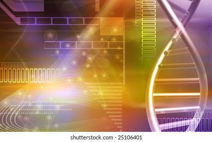 Digital illustration of a DNA and cells
