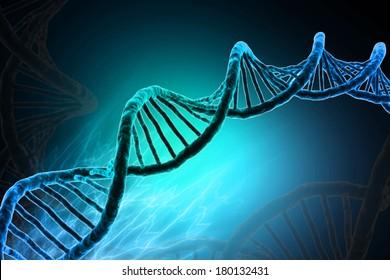 Digital illustration of DNA in colour background