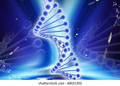 Digital illustration of DNA in colour background