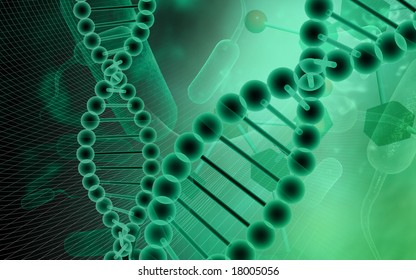 Digital illustration of a DNA model in green background