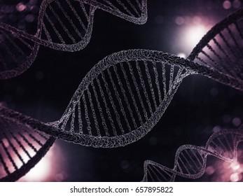 Digital illustration of a DNA model on science background. 3D rendering