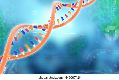 Digital illustration DNA structure in colour background . 3D rendering