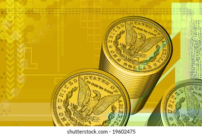 Digital illustration of dollar coin in golden colour