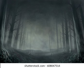 digital illustration of dread death dark night forest
