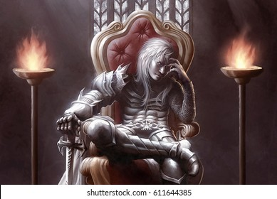 digital illustration of fantasy evil dark medieval knight killer warrior slayer sitting on throne