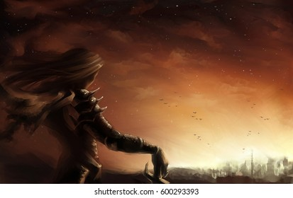 digital illustration of a fantasy female warrior look out at dusk sunset