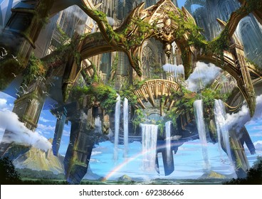 digital illustration of fantasy medieval environment landscape concept background in ancient ruin city floating in sky