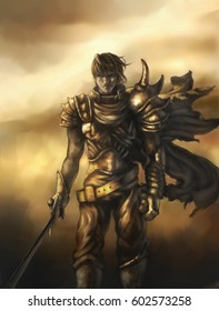 digital illustration of a fantasy young warrior in armor with heroism